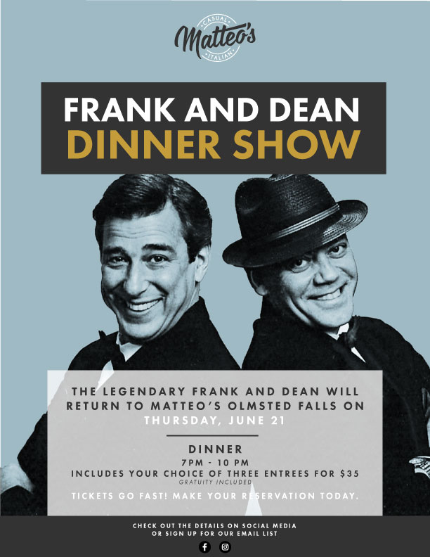 Frank and Dean Dinner Show at Matteo's Olmsted Falls